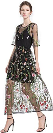 5d44a1cdd1a BaronHong Women s Floral Embroidered Tulle Prom Maxi Dress with Cami Dress 3  4 Sleeves