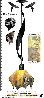 Jezebel Signature Sweetgrass Pendant. Hardware: Black. Glass: Strawflower, Flame Style