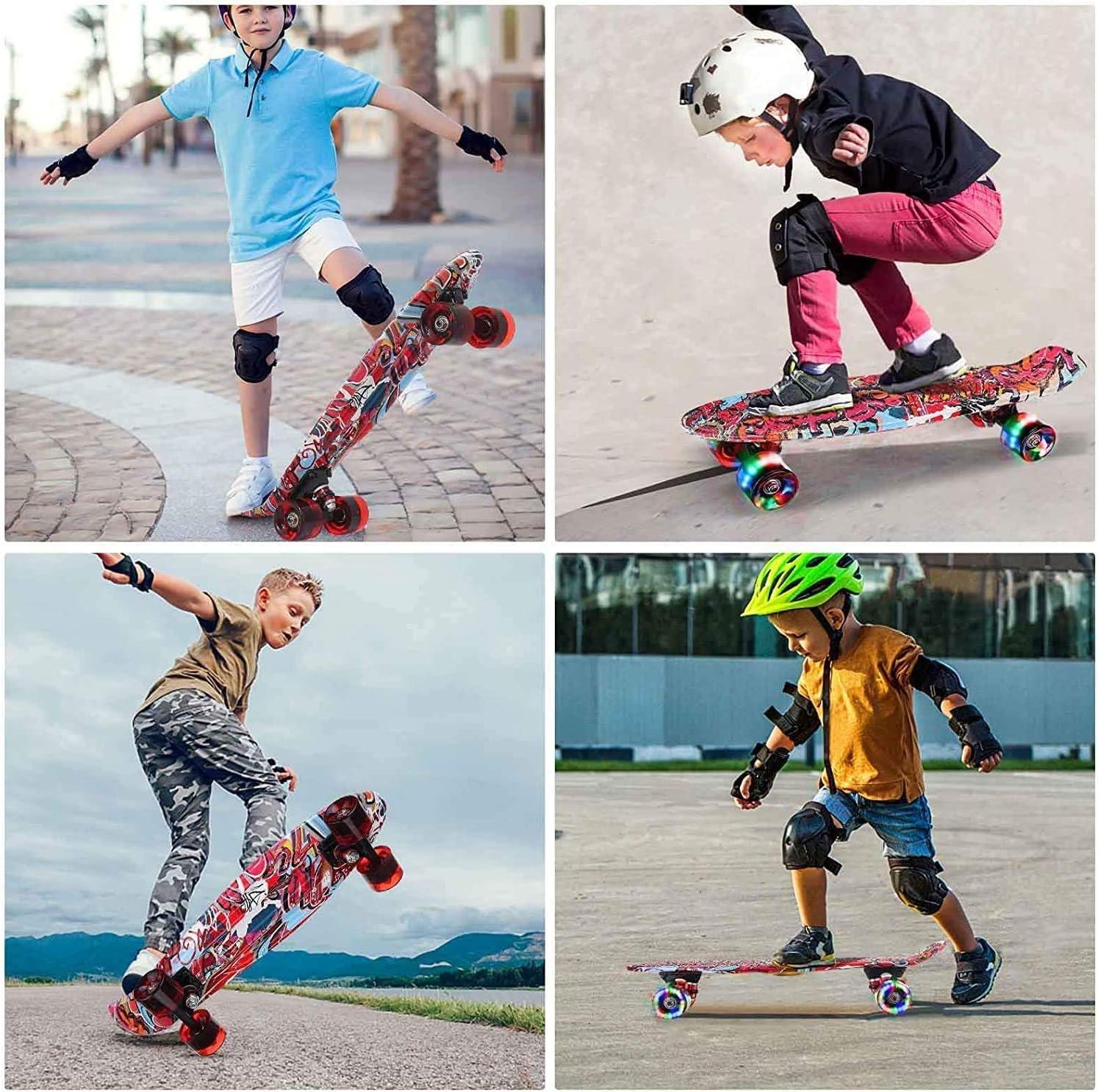 SGODDE Skateboard Komplette 56cm//22 Mini Cruiser Board Retro Komplettboard f/ür Anf/änger Kinder Jugendliche Erwachsene,56x15cm Komplett Board mit ABEC-11 Kugellager,LED PU Leuchtrollen,T-Tool