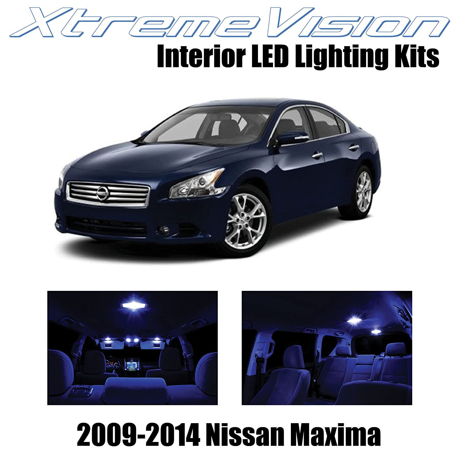XtremeVision Interior LED for Nissan Maxima 2009-2014 (14 Pieces) Blue Interior LED Kit + Installation Tool Tool