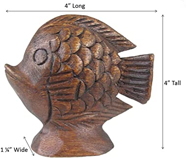 Hand Carved Fish Figurine - Small Wooden Fish Sculpture - Tropical Fish Statue Ocean Nautical Home Decor - 4 Inches - Set of