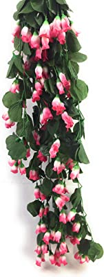 Sun Shine Polyester Fabric and Plastic Artificial Hanging Butterfly Orchid Flower (15 cm x 15 cm x 70 cm) (Pink/Green)