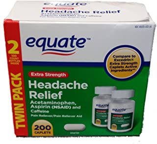Equate Extra Strength Headache Relief, Compared to Excedrin Caplets, Twin Pack, 200 Count