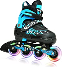 M-GRO Adjustable Inline Skates for Kids and Adults with Featuring All Illuminating Wheels and Tool Outdoor Roller Skates f...