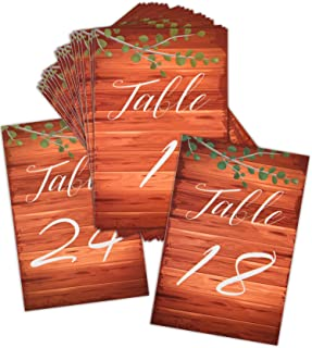 Chengu 24 Pieces 1 to 24 Printed Numbered Card Wood Table Number Cards Table Number Double Sided Signs Wedding Table Numbers for Wedding Birthday Party, 6 by 4 inch