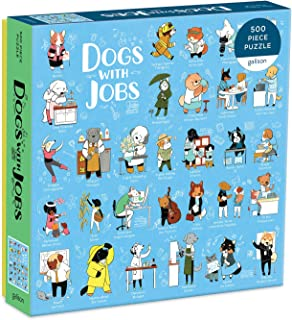 "Galison Dogs with Jobs Puzzle, 500 Pieces, 20"" x 20"" – Jigsaw Puzzle Featuring an Amusing Illustration of Dogs – Thick, Sturdy Pieces, Challenging Family Activity, Great Gift Idea, Multicolor"