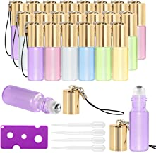 Essential Oil Roller Bottles - 24 Pack 5ml Pearl Colored Glass Roller Bottles with Stainless Steel Roller Balls by Mavogel, Essential Oil key Opener and Droppers Included