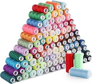 ilauke Nähgarn Set Mit 100 Farben Hochwertiger Nähgarn aus Polyester, Einweg, Nähzeug-Set, 250 Yard/Rollen