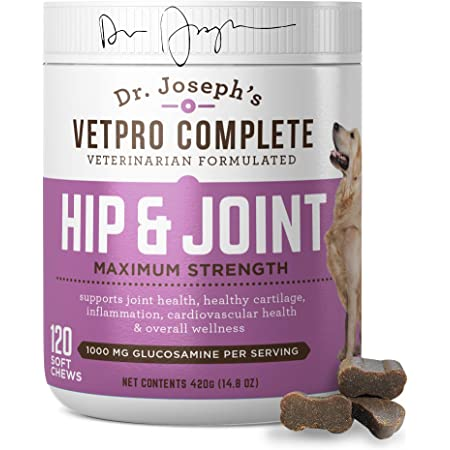 VetPro Dog Hip and Joint Supplement - Pain and Inflammation Relief Chews with Glucosamine, Chondroitin, MSM, Turmeric, Vitamin C, Omega 3 - Treats Hip Dysplasia, Arthritis - Dogs Chewable Supplements