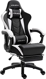 Dowinx Gaming Chair Ergonomic Racing Style Recliner with Massage Lumbar Support, Office Armchair for Computer PU Leather E-Sports Gamer Chairs with Retractable Footrest(Blackwhite)