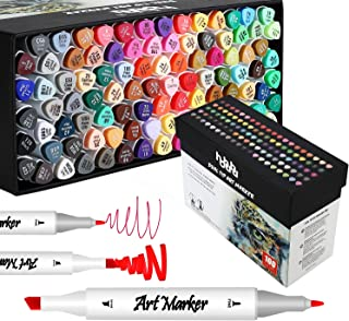 100 Colors Dual Tips Marker Pens Art Markers Double Ended Fine color Sketch Marker for Illustration Adult Coloring with Gi...
