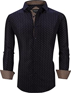Mens Printed Dress Shirts Long Sleeve Regular Fit Wrinkle Free Casual Button Down Shirt