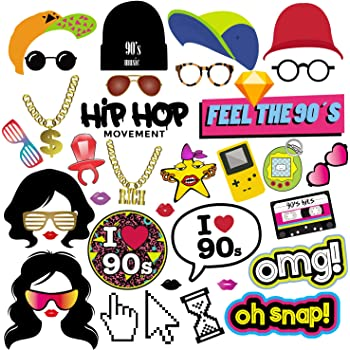 90s Party Photo Booth Props Giant Gold Balloon Chain Throwback Decoration 90s Hip Hop Dance Link Favors Supplies Photobooth Selfie Retro