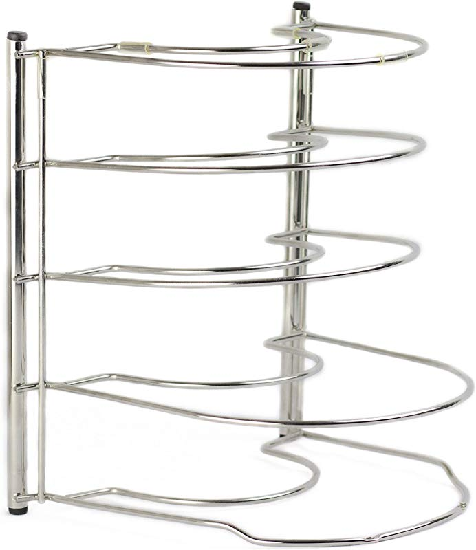 Ensteelo Heavy Duty Kitchen Pan Holder And Pot Organizer Rack Made Of High Grade Stainless Steel Anti Slippery And Anti Scratch Silicone Covers No Assembly Required