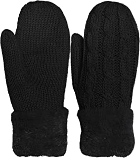 KMystic Plush Lined Cuffed Winter Knit Mittens