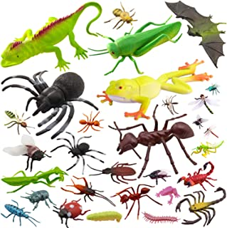 """Pinowu 27pcs Bug Toy Figures Playset for Kids Boys, 2-6"""" Fake Bug Insects - Fake Spiders, Cockroaches, Scorpions, Cricket..."""