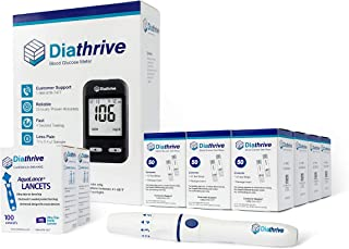 Diathrive Blood Glucose Monitoring Kit – Diathrive Blood Glucose Meter, 600 Blood Test Strips, 1 Lancing Device, 30 Gauge Lancets-200 Count, Control Solution, Logbook, and Carrying Case