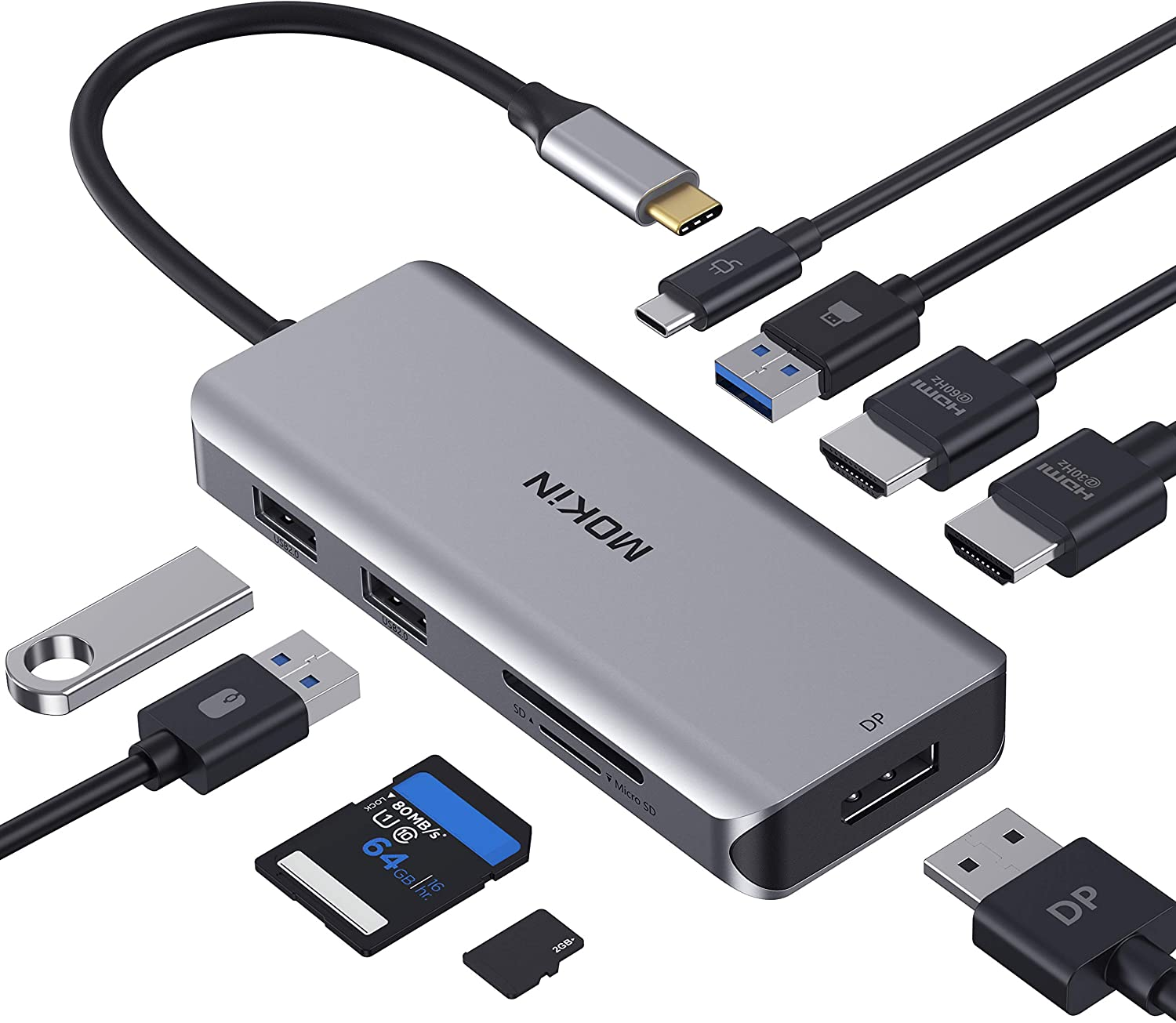 Docking Station, USB C Adapter Dual HDMI, 9 in 1 Triple Display Multiport Adapter Dongle with 2 HDMI 4K, DisplayPort, 3 USB, 100W PD, SD/TF Card Reader for MacBook Pro Air Type C Laptops