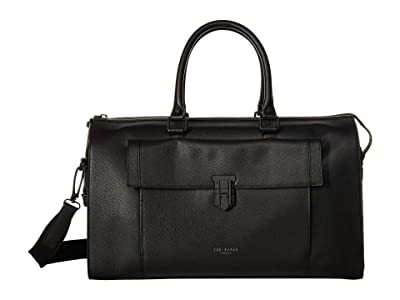 Ted Baker Starmo Colored Leather Holdall (Black) Duffel Bags