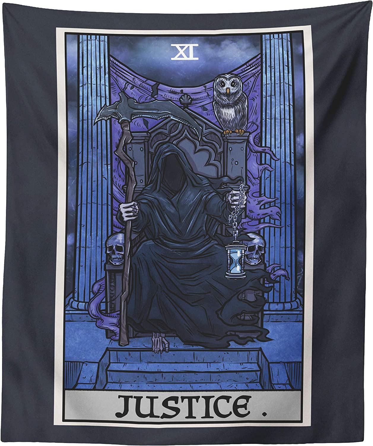The Ghoulish Garb Justice Tarot Card Tapestry - Grim Reaper - Gothic Halloween Home Decor Wall Hanging (60