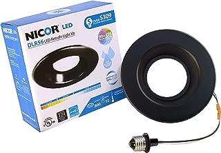 NICOR Lighting 5/6-Inch Dimmable 800-Lumen 3000K LED Downlight Retrofit Kit for Recessed Housings, Black Trim (DLR56-3008-120-3K-BK)