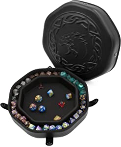 CASEMATIX Dice Tray and Dice Storage Case for Up to 115 RPG Dice - Dice Tray for Rolling with Magnetic Snaps, Embossed Dragon Design and Non-Scratch Interior for Random Rolls Dice Protection