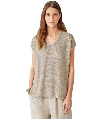 Eileen Fisher V-Neck Tunic in Organic Linen Delave