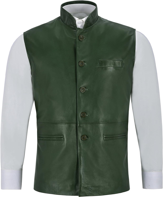 Men's Leather Waistcoat Green Mandarin Collar Indian Ethnic Vest Real Napa 3946