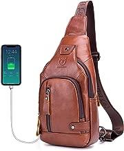 Mens Genuine Leather Sling Bag,Casual Crossbody Shoulder Backpack Travel Hiking Vintage Chest Bag Daypacks for Men with Charging Port