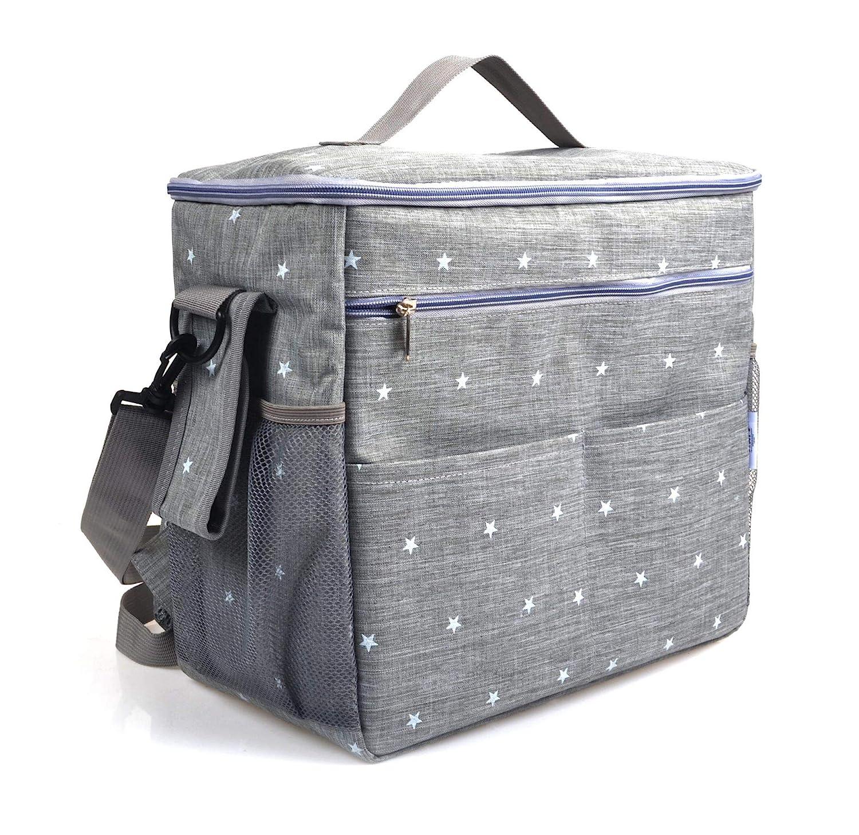 Takusun Diaper Bag Baby Tote Backpack Adjustable Baby Stroller Organizer Stylish Stroller Strap Inner Pockets Waterproof Material