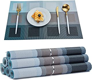 TOP BEAUTY Placemats Set of 6 Woven Vinyl Table Mats PVC Heat Insulation Stain Resistant Non Slip Kitchen Dining Table Decoration