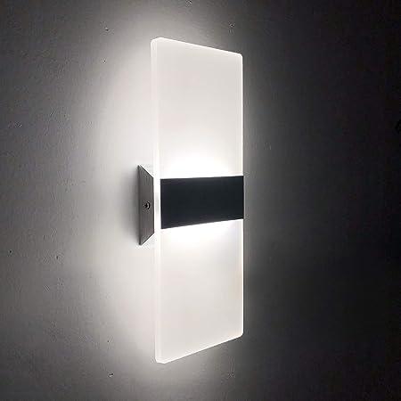 Applique Murale LED Interieur 12W Moderne Lampes murales en Acrylique pour Chambre Salon Balcon Porche Bureau Hôtel et Couloir (Blanc Froid, 6500K)
