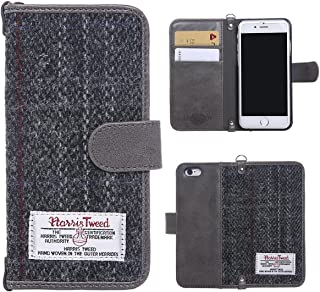 iPhone 6S Wallet Case, MONOJOY Harris Tweed Handmade Flip Folio Case Wallet Book Cover with Credit Card Slots, [Pure Scottish Wool] Magnetic Closure for iPhone 6/6S 4.7 inch (Grey)