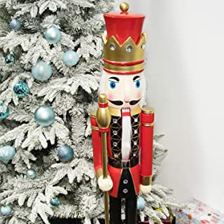 KI Store Large Christmas Nutcracker 4-Foot, King Wooden Nutcracker Figurine Christmas Decorations for Staircase Front Door