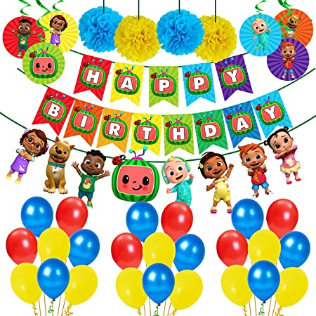 Party Propz Cocomelon Theme Birthday Party Decorations Combo 39Pcs Items Banner, Balloons, Swirls, Pom Pom for Kids Birthday Party Decoration