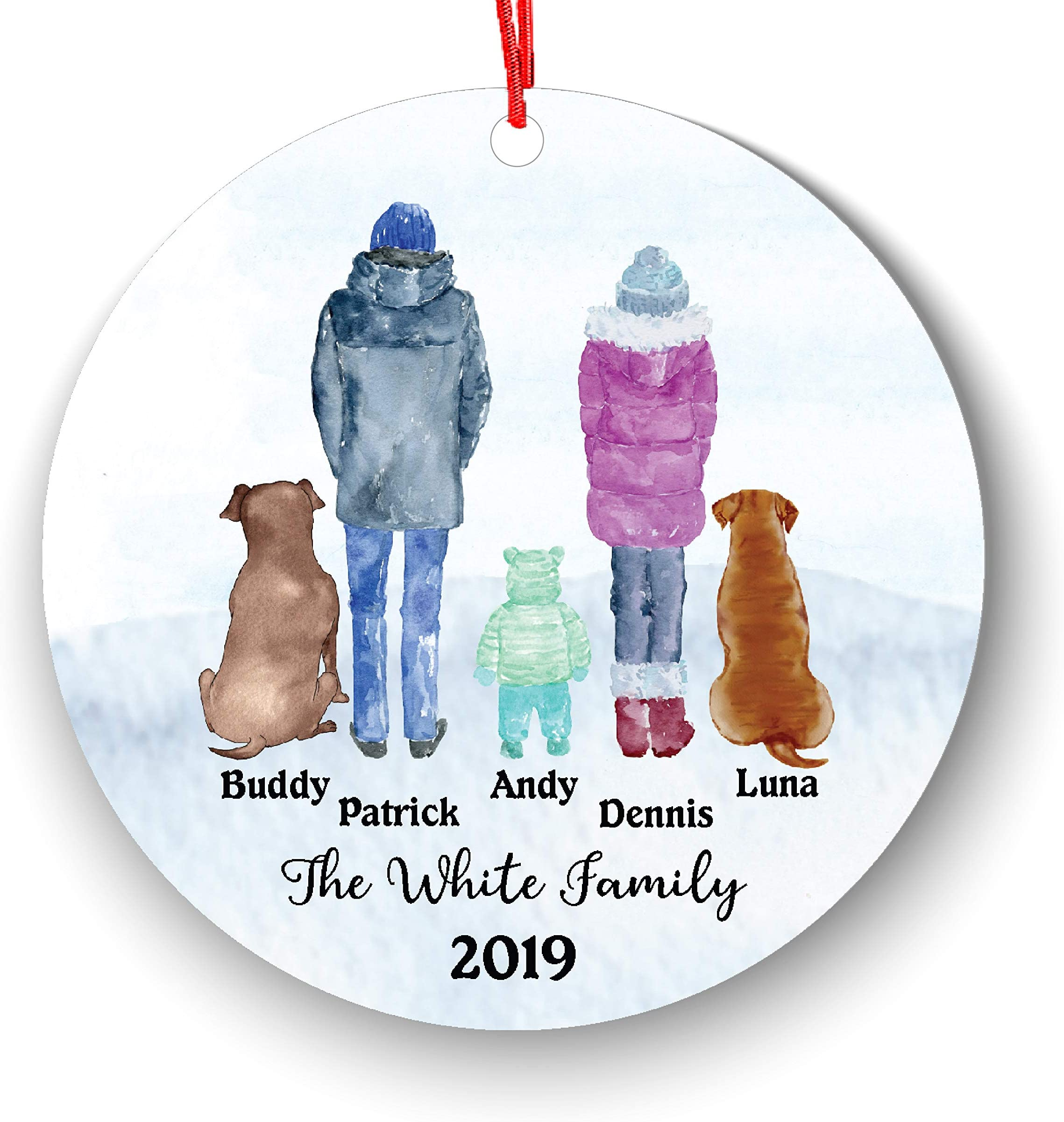 Personalized Family of 3 Children Boy Girl Kids Baby with Pet Dog Cat Owner Christmas Ornament Parents Pet Lover Gifts Custom Portrait Fur Mom Dad with Beautiful Snow Scene (Family of 3 with pet)