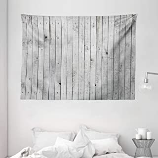 """Ambesonne Grey and White Tapestry, Vertical Lines Wooden Board Background Black and White Tone Vintage Planks Picture, Wide Wall Hanging for Bedroom Living Room Dorm, 80"""" X 60"""", Grey"""