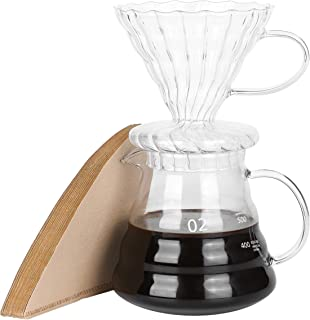 Pour Over Coffee Dripper  Brew 4 Cups Heat Resistant High Borosilicate Glass Coffee Maker Come with Filter Paper 20oz Coffee Server with Lid