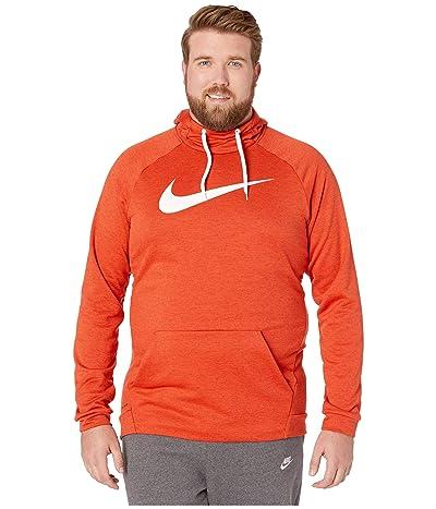 Nike Big Tall Dry Hoodie Pullover Swoosh (Team Orange/Night Maroon/Heather/White) Men