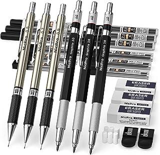 مداد مکانیکی Nicpro 6PCS ، 3 عدد مداد پیش نویس اتوماتیک فلزی 0.5 میلی متر