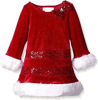 Bonnie Baby Baby Girls' Sparkle Stretch Velvet Santa Dress with Sequin Bands