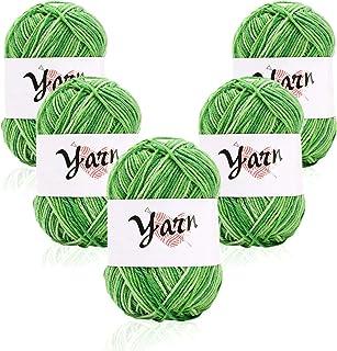 Fil de laine à tricoter Pull écharpe 5x 50g Ensemble de fil à tricoter Fil de coton et de pelote Grandes couleurs assortie...