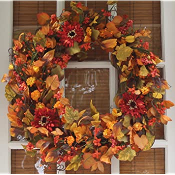 The Wreath Depot Highland Silk Fall Door Wreath, 22 inches, Beautiful White Gift Box Included