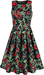 56147c4b625 Dolly and Dotty Robe Rétro Florale Annie Rose Thorns Robe mi-longue noir