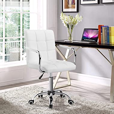 Yaheetech White Desk Chairs with Wheels/Armrests Modern PU Leather Office Chair Midback Adjustable Home Computer Executive Ch