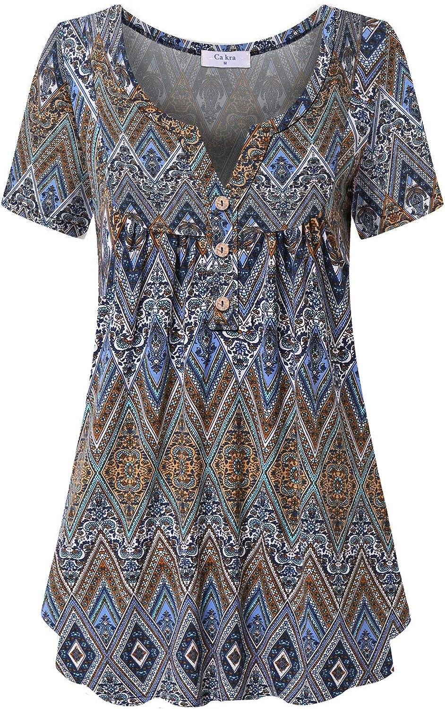 Ca Kra Tunics for quality assurance Women Dealing full price reduction Short Henley f Shirts Tunic Tops Sleeve