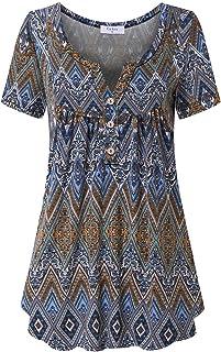 Tunics for Women, Short Sleeve Tunic Tops Henley Shirts...