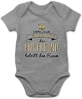 Shirtracer Sprüche Baby - Ihre Majestät das Enkelkind betritt den Raum - Baby Body Kurzarm für Jungen und Mädchen