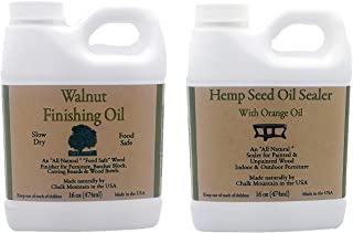 Chalk Mountain Brushes & Waxes 16oz Walnut Oil Food Safe Finisher and 16oz Hemp Seed Furniture Sealer Citrus Scented Sealer. Preserves and Beautify Painted and Unfinished Wood
