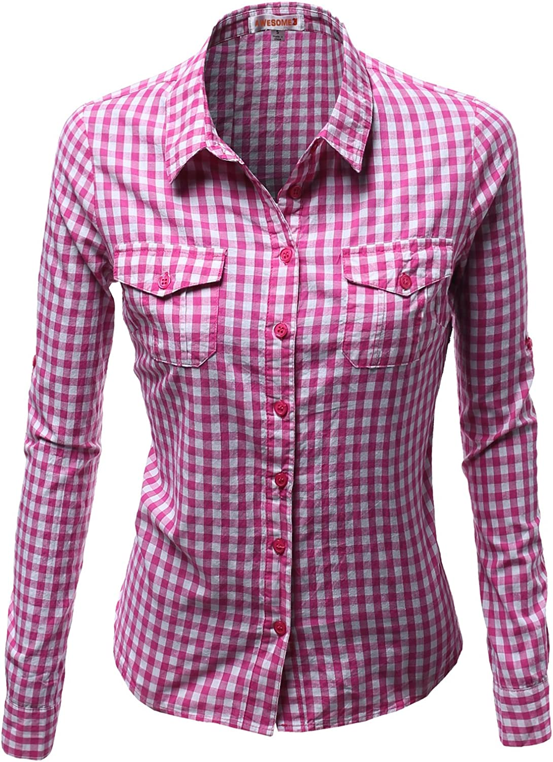Awesome21 Women's Basic Slim Fit Roll Up Sleeve Plaid Shirt Blouses